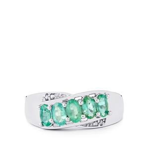 Zambian Emerald Ring with Diamond in Sterling Silver 1.10cts