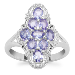 Tanzanite Ring with White Zircon in Sterling Silver 1.73cts