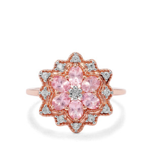 Mozambique Pink Spinel & White Zircon 9K Rose Gold Ring ATGW 1.42cts