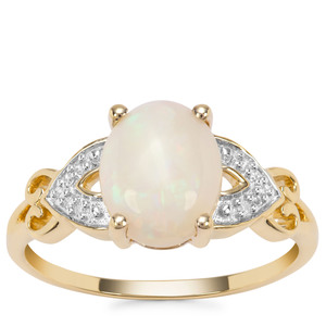 Coober Pedy Opal Ring with Diamond in 9K Gold 1.63cts