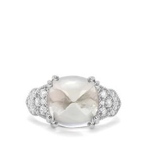 Prasiolite & White Zircon Sterling Silver Ring ATGW 9.14cts
