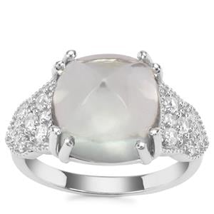 Prasiolite Ring with White Zircon in Sterling Silver 9.14cts