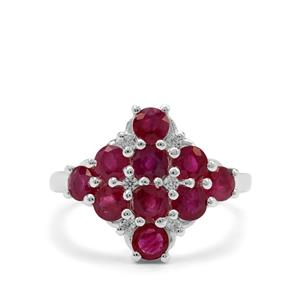 Burmese Ruby & White Zircon Sterling Silver Ring ATGW 2.35cts