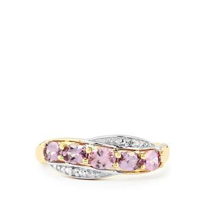 Purple Mahenge Spinel Ring with Diamond in 10k Gold 0.92cts