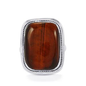 20ct Red Tiger's Eye Sterling Silver Aryonna Ring