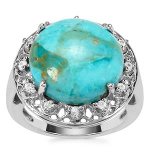 Cochise Turquoise Ring with White Zircon in Sterling Silver 8.63cts