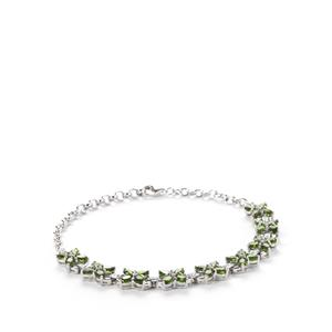 Chrome Diopside Bracelet with White Topaz in Sterling Silver 7.49cts