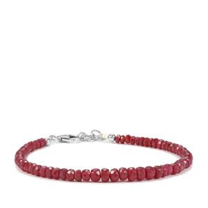 Ruby Graduated Bead Bracelet in Sterling Silver 31cts
