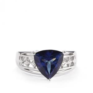 4cts Royal Blue Topaz Sterling Silver Ring