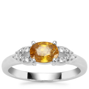 Morafeno Sphene Ring with White Zircon in Sterling Silver 1.03cts
