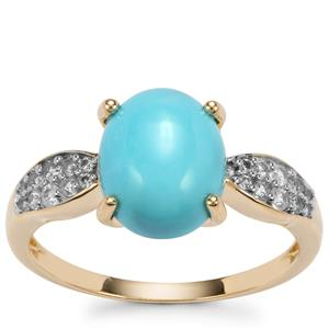 Sleeping Beauty Turquoise Ring with White Zircon in 9K Gold 2.38cts