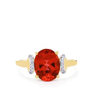 Cruzeiro Topaz & Diamond 10K Gold Ring ATGW 3.13cts