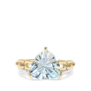 Lehrer Infinity Cut Sky Blue Topaz & Blue Diamond 9K Gold Ring ATGW 4.11cts