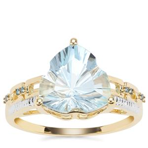 Lehrer Infinity Cut Sky Blue Topaz Ring with Blue Diamond in 9K Gold 4.11cts