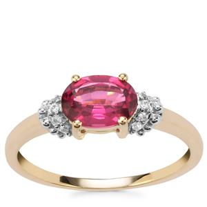 Comeria Garnet Ring with White Zircon in 9K Gold 1.34cts
