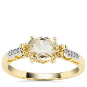 Minas Novas Hiddenite Ring with Diamond in 9K Gold 1.65cts