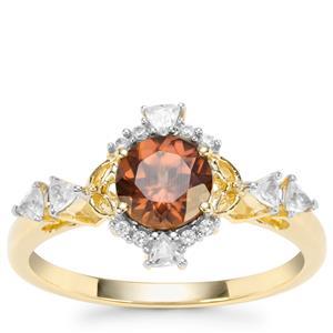 Zanzibar Sunburst Zircon Ring with White Zircon in 9K Gold 1.57cts