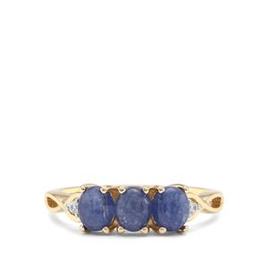 Burmese Blue Sapphire & White Zircon 9K Gold Ring ATGW 1.80cts