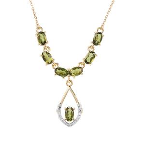 Chrome Tourmaline Necklace with Diamond in 9K Gold 1.49cts