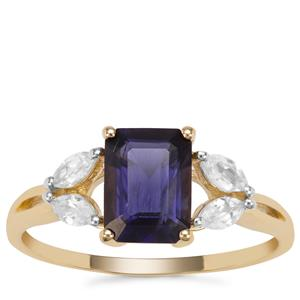 Bengal Iolite Ring with White Zircon in 9K Gold 1.63cts