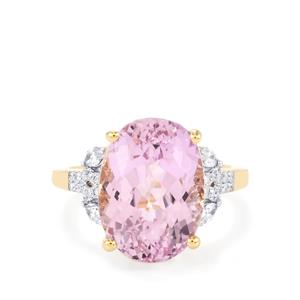 Mawi Kunzite Ring with Diamond in 18k Gold 11.14cts