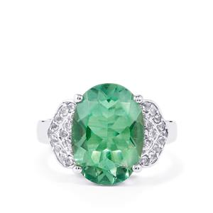Tucson Green Fluorite & White Topaz Sterling Silver Ring ATGW 6.79cts