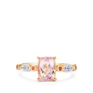 Mawi Kunzite, Pink Tourmaline Ring with White Zircon in 10K Rose Gold 1.89cts