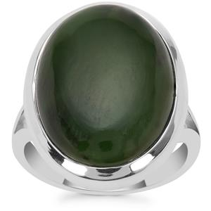 Nephrite Jade Ring  in Sterling Silver 17cts