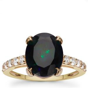 Ethiopian Midnight Opal Ring with White Zircon in 9K Gold 2.65cts