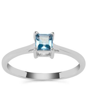 Electric Blue Topaz Ring in Sterling Silver 0.39cts