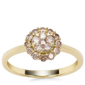 Champagne Diamond Ring in 9K Gold 0.52ct