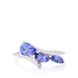 AA Tanzanite Ring with Diamond in 10k White Gold 1.14cts