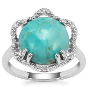 Arizona Turquoise Ring with White Topaz in Sterling Silver 5.29cts