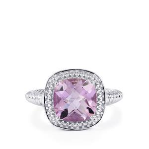 3.92ct Rose De France Amethyst Sterling Silver Ring