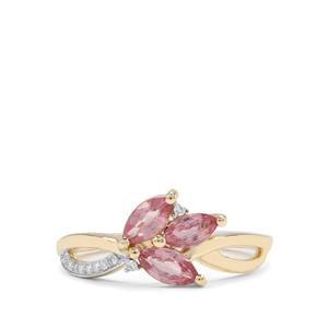 Padparadscha Sapphire & Diamond 9K Gold Ring ATGW 1cts