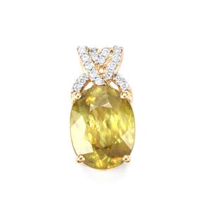 Ambilobe Sphene Pendant with Diamond in 18K Gold 4.14cts