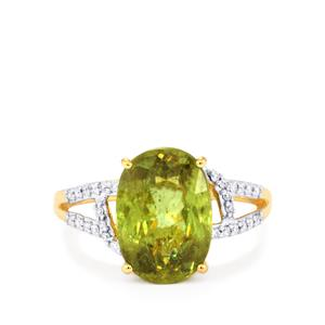 Ambilobe Sphene Ring with Diamond in 18k Gold 5.32cts