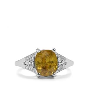 Ambilobe Sphene Ring with Diamond in 18K White Gold 3cts