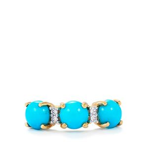 Sleeping Beauty Turquoise Ring with White Zircon in 9K Gold 2.67cts