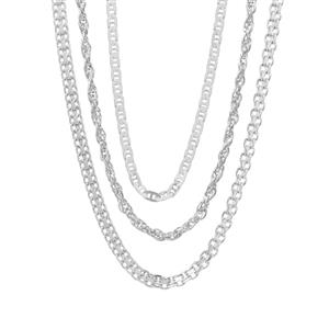 """18"""" Sterling Silver Set of 3 Chain 6.69g"""