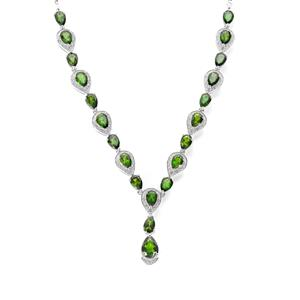 Chrome Diopside Necklace with White Topaz in Sterling Silver 11.29cts