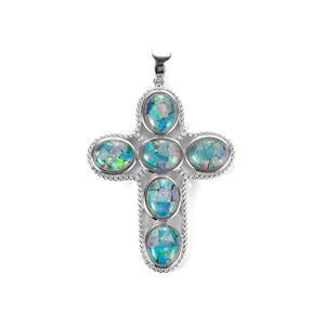 Mosaic Opal Sterling Silver Pendant (10 x 8mm)