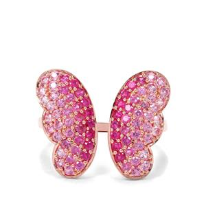 Pink Sapphire & Burmese Ruby 9K Rose Gold Tomas Rae Butterfly Ring ATGW 1.52cts