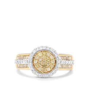 3/4ct Yellow & White Diamond 9K Gold Tomas Rae Ring