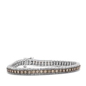 5.50ct Champagne & White Diamond Sterling Silver Bracelet