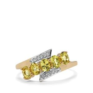 Brazilian Chrysoberyl Ring with White Zircon in 10k Gold 1.07cts