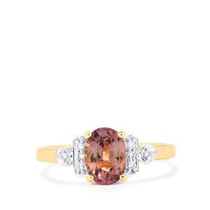 Padparadscha Sapphire Ring with Diamond in 18k Gold 1.61cts