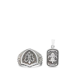 Set of Ring and Pendant in Sterling Silver