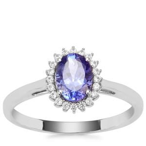 AAA Tanzanite Ring with White Zircon in 9K White Gold 1.02cts