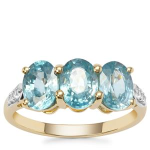 Ratanakiri Blue Zircon Ring with White Zircon in 9K Gold 3.83cts